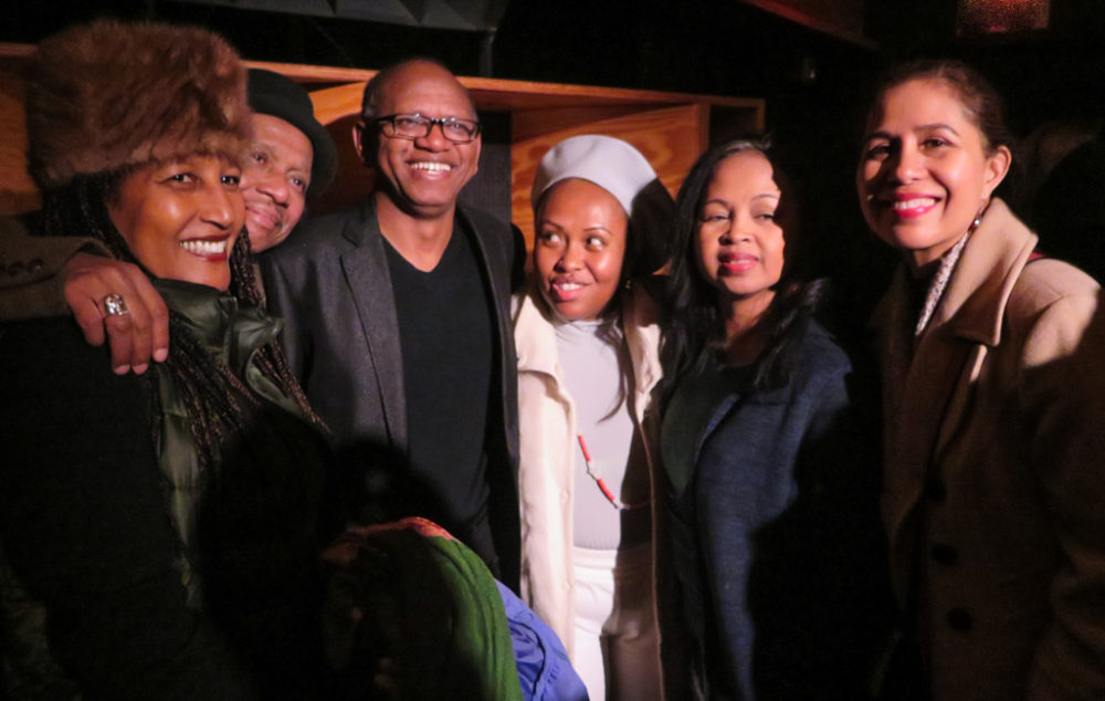 Malagasy singer Razia (far left) joins Rajery and Malagasy friends after the concert at Public Record