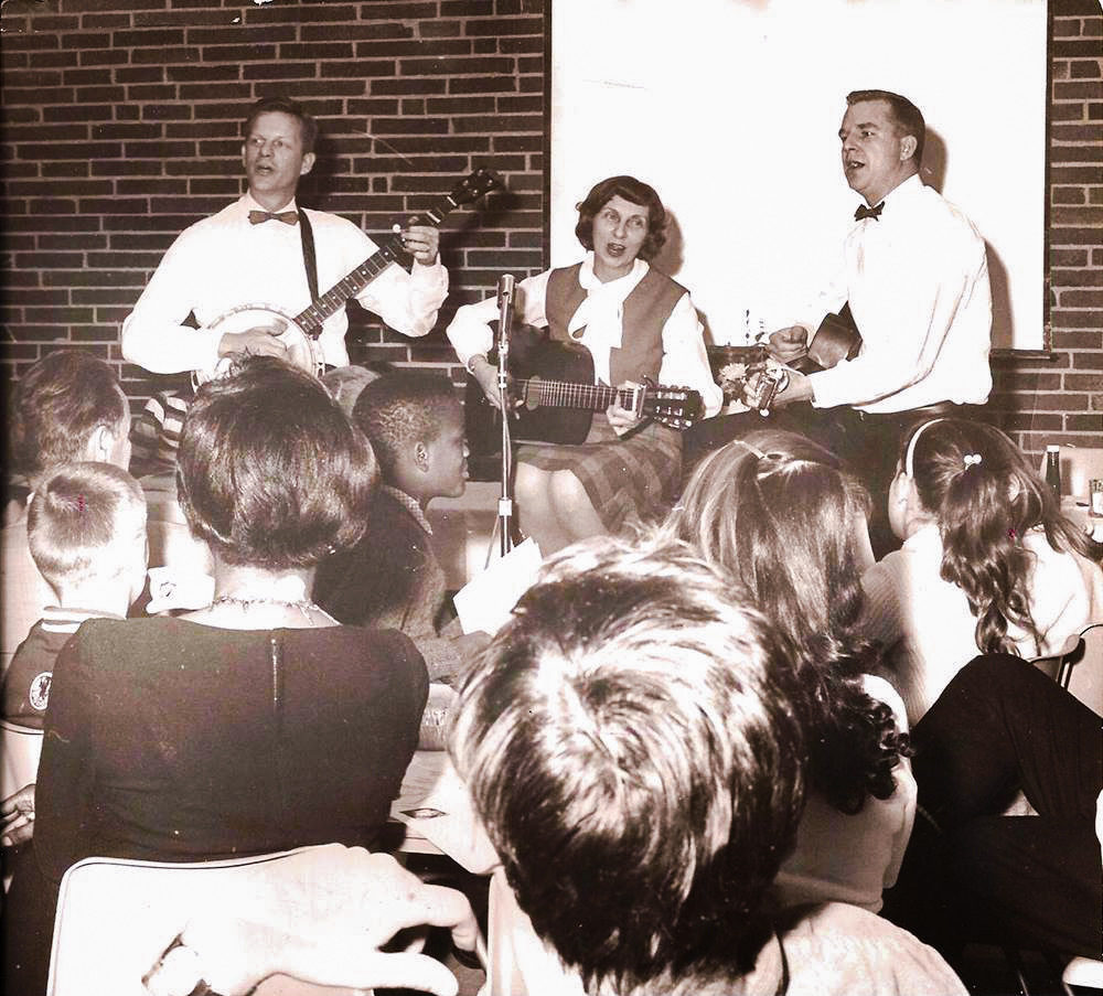 Grandma (Billie Hotaling), Grandpa (Dan Hotaling), and aunt and the second one is my Grandma, Grandpa, and friend Cy Tebbets performing in 1962.