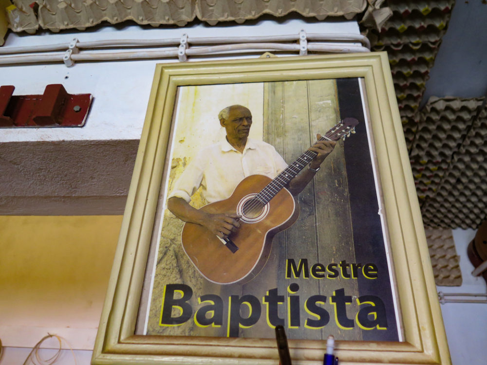 Instrument-building studio of the late Mestre Baptista in Mindelo. The Baptista family includes many great musicians, among them Cesaria's musical director, Bau, and the current proprietor of the workshop, Luis Baptista. (BE)