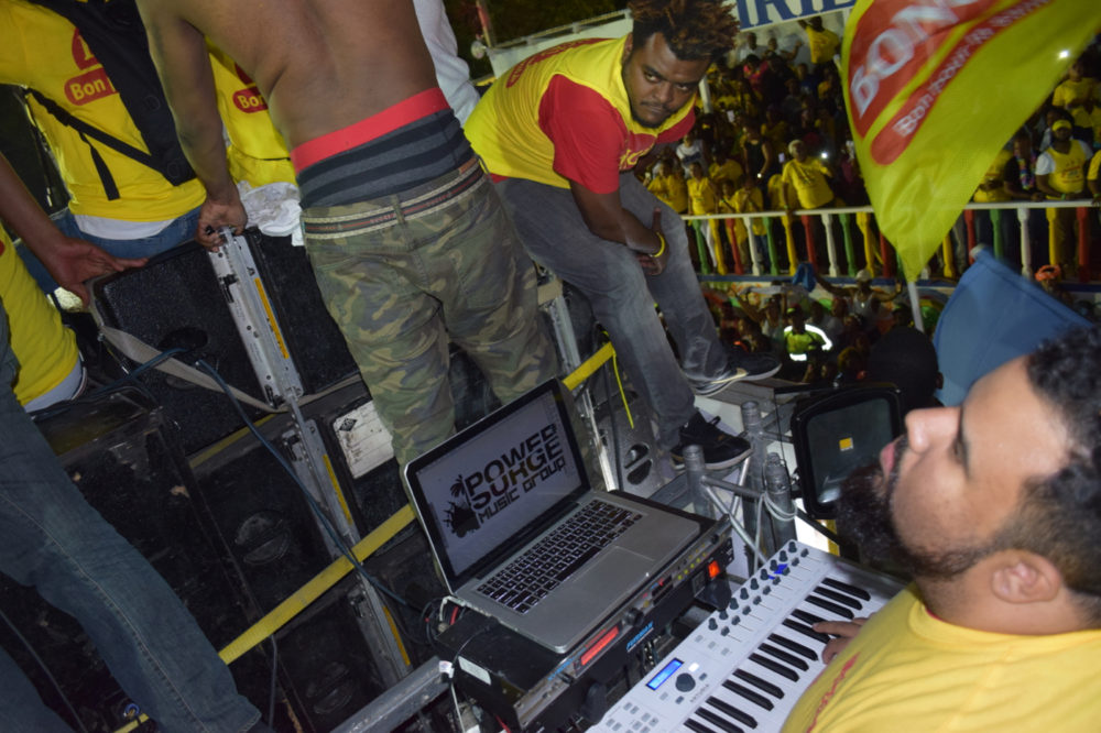 Serge Turnier is playing keyboards. He lives in Florida, and because this float was organized at the very last minute he got the call to come down just two days before carnival started.