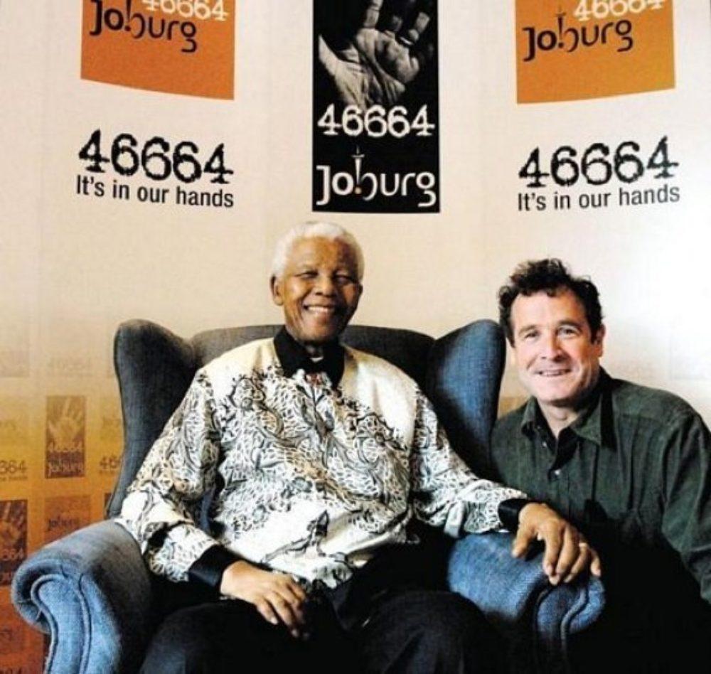 Nelson Mandela and Johnny Clegg. 46664 signifies Mandela's Robben Island prisoner ID number.