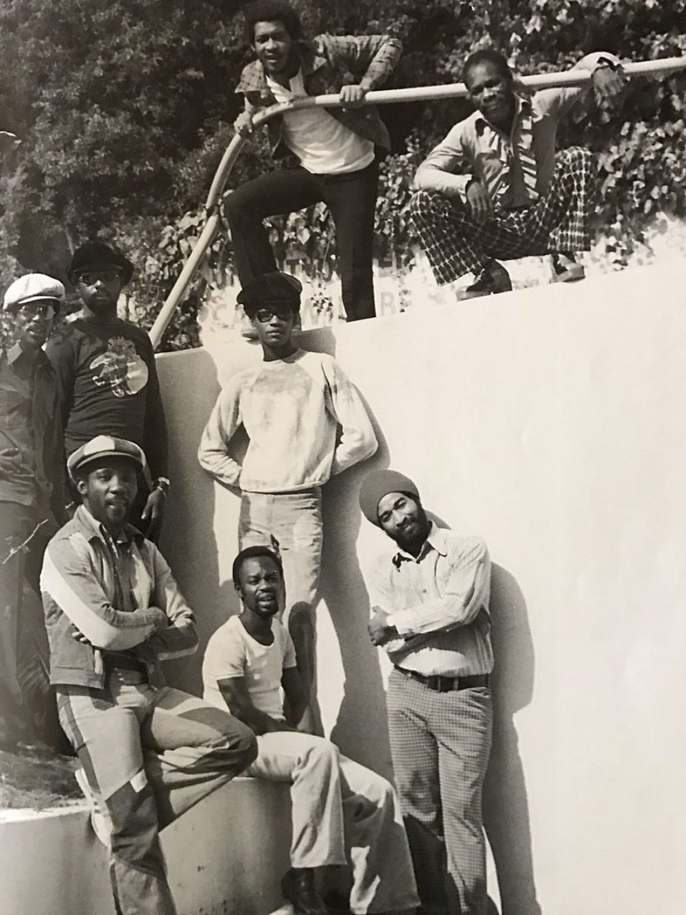 """Toots and the Maytals circa 1976. Top row: Paul Douglas, Raleigh Gordon. Middle row: Jerry Mathias, Jackie Jackson, Radcliffe """"Dougie"""" Bryan. Bottom row: Toots Hibbert, Hux Brown, Ansel Collins."""