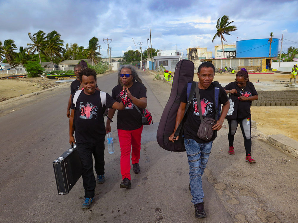 Damily band, arriving for a rare gig in Tulear.