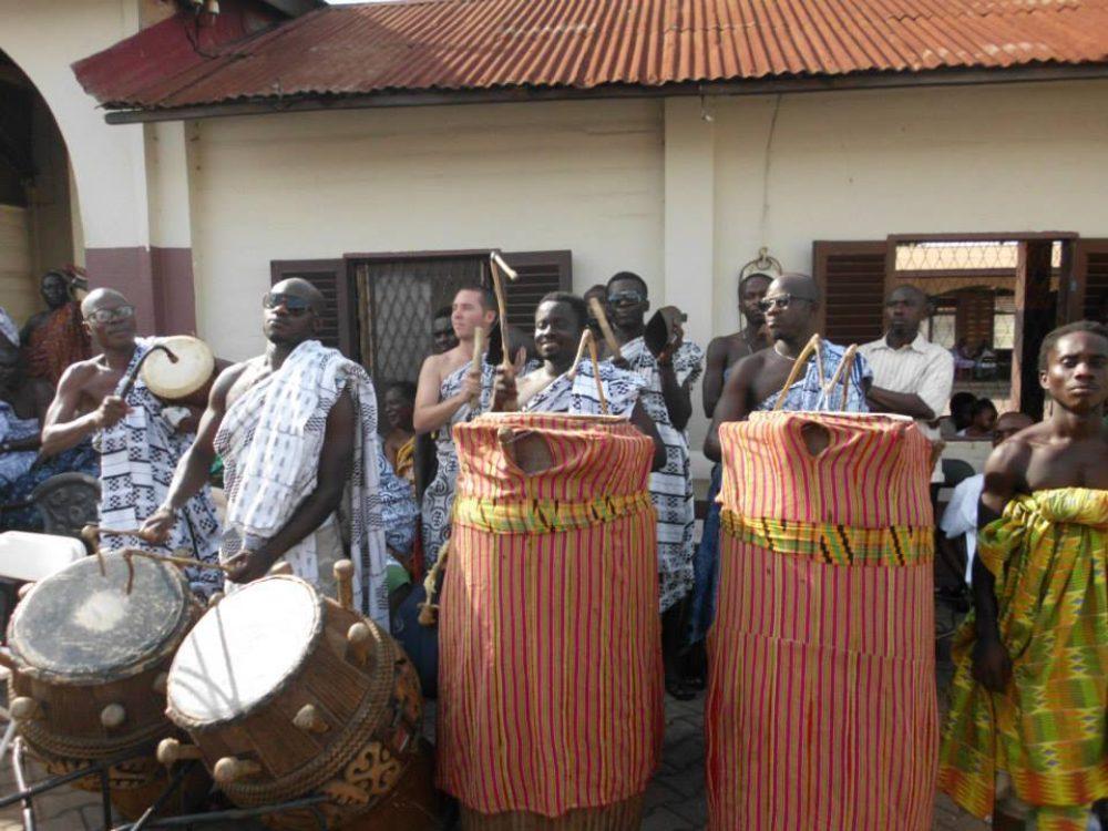 Attah & Ben playing Asante Fontomfrom drums at the Asante King's palace in Kumasi