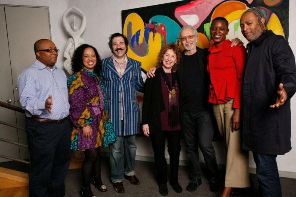 From L to R: 2018 Alpert Award Winners - Robert O'Hara (Theatre), Courtney Bryan (Music), Michael Rakowitz (Visual Arts), Lani Hall Alpert, Herb Alpert, Okwui Okpokwasili (Dance), Arthur Jafa (Film/Video). Photo by Francesco da Vinci