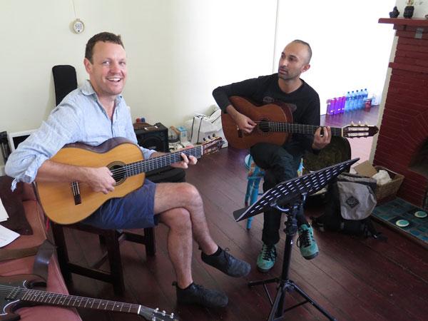 Derek Gripper and _____ rehearsing a Toumani Diabate kora piece, arranged for two guitars.