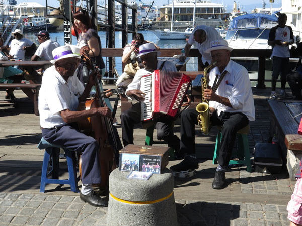 The Solomon Peterson Quartet, playing goema and jazz on the wharf at Cape Town, as they have for 40 years.