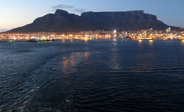 Cape Town and Table Mountain from the harbor.