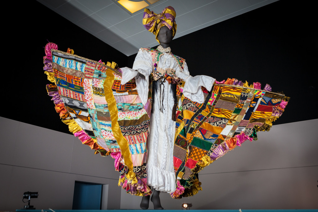 Carnival costume designed by Ray Mahabir of Sunshine International Arts in 2015, based on Bele or Bel Air, a drum dance and song closely linked to Caribbean history, struggle, freedom and celebration. On display in West Africa: Word, Symbol, Song, photographed by Toby Keane