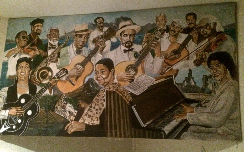 Heroes of Cape Verdean music fill a mural in one of Lisbon's many African restaurants.