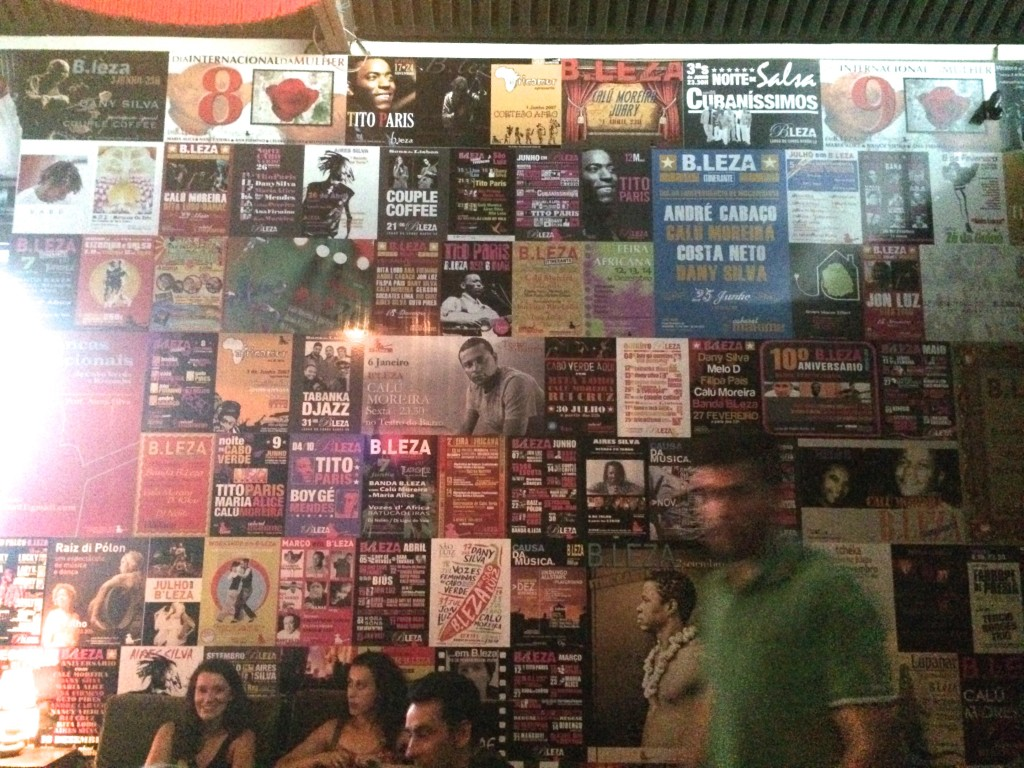 Posters from past shows line the walls at B.Leza, a legendary african club in Lisbon.