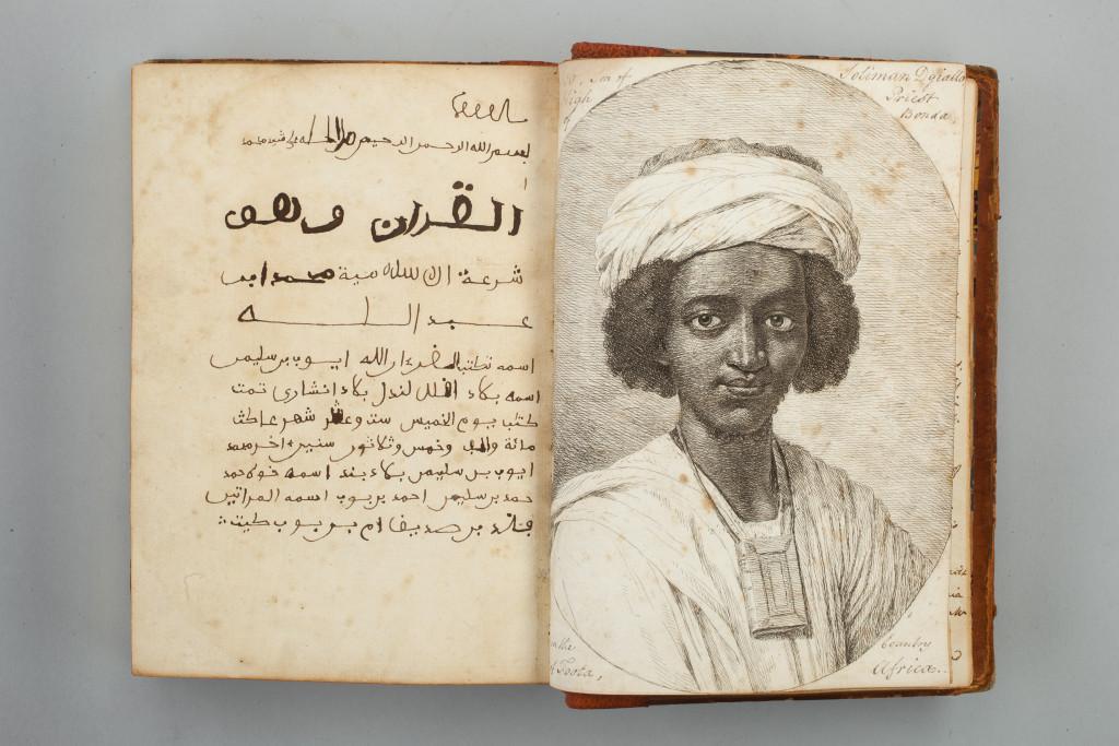 A qu'ran written by Ayuba Suleiman Diallo featuring his portrait, 1734.