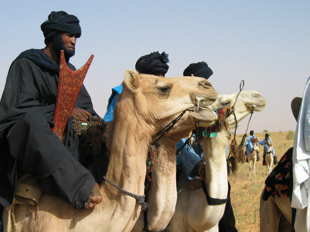 Tuareg riders near Timbuktu (Eyre 2003)