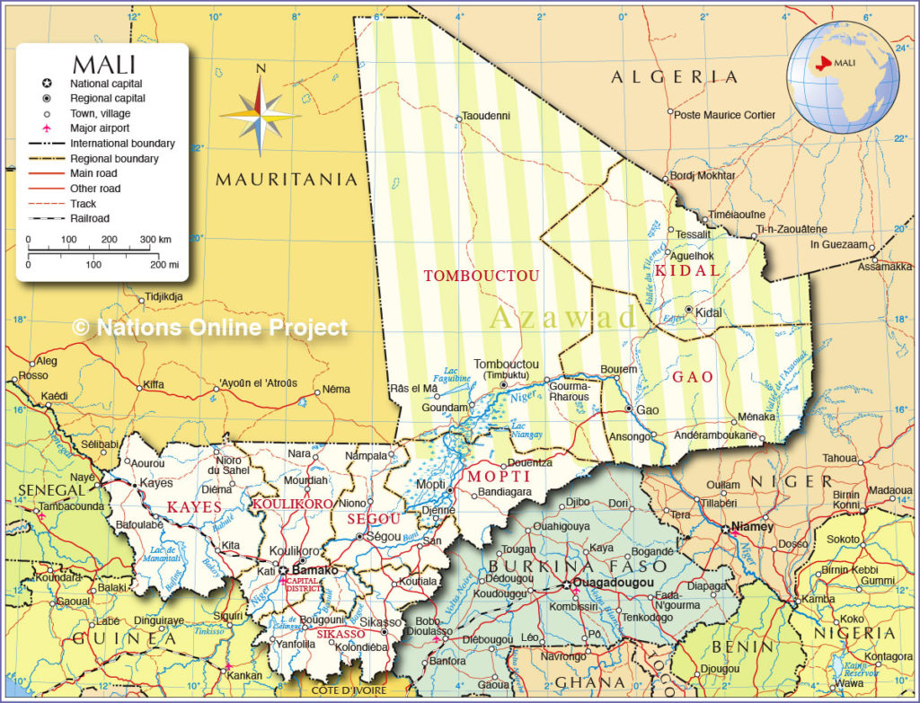 2012 map of Mali, with the briefly independent northern territory of Azawad indicated