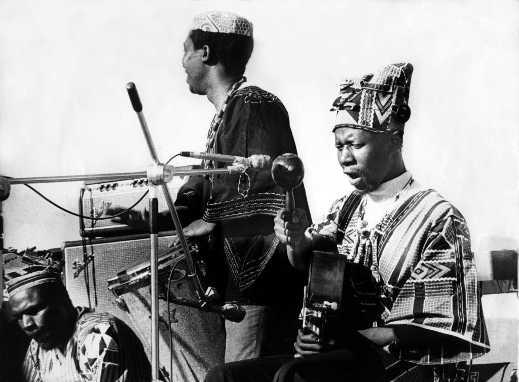August 1974. Maswaswe Mothopeng and Thabang Masemola of Batsumi give a live performance. © Sunday Times/Times Media